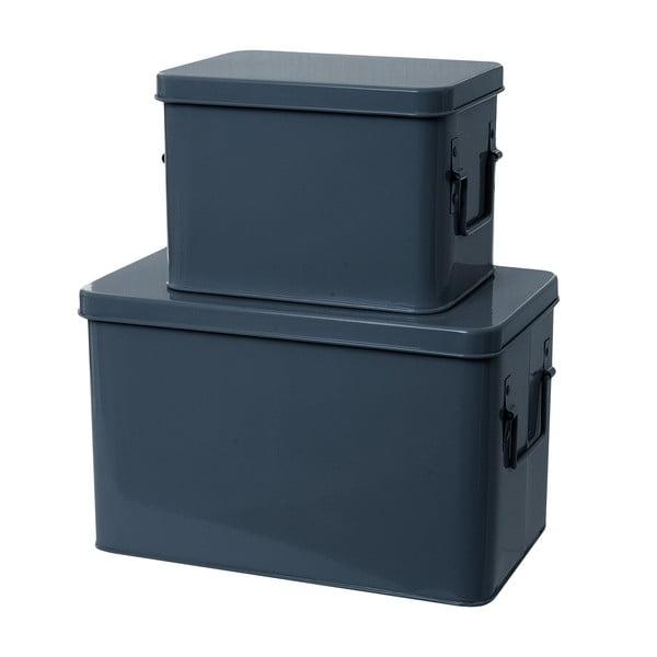 Set 2 skladovacích boxov Present Time Metal Blue