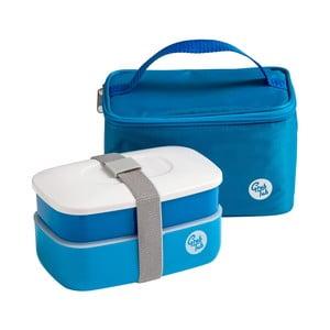 Set modrého desiatového boxu a tašky Premier Housewares Grub Tub, 21×13cm