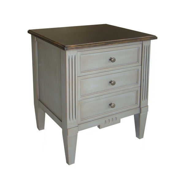 Nočný stolík s 3 zásuvkami Black Top Belgique Grey