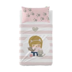 Set plachty a obliečky na vankúš z čistej bavlny Happynois Kittty, 100×130 cm