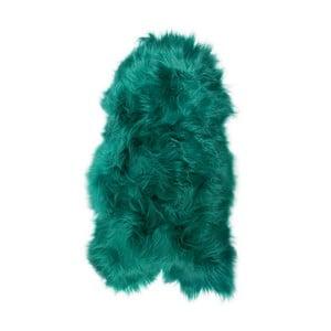 Zelená ovčia kožušina s dlhým vlasom, 100 x 55 cm