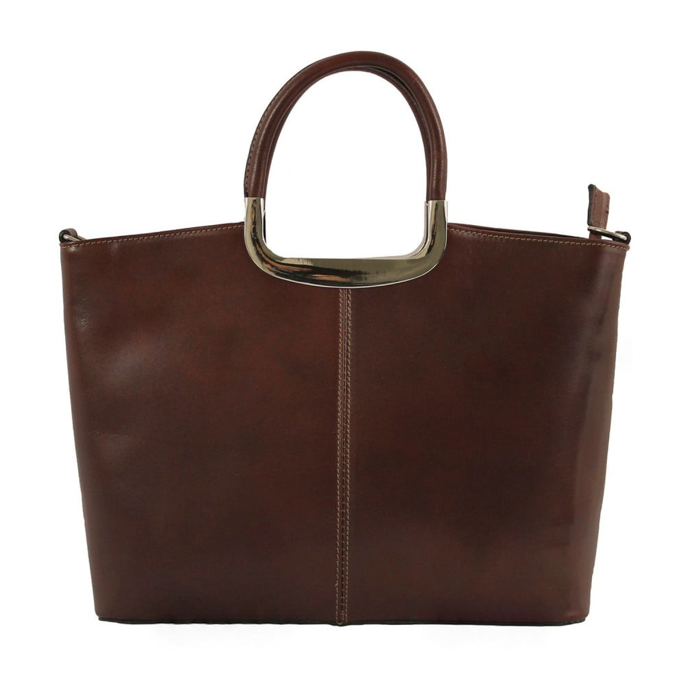 Hnedá kožená kabelka Chicca Borse Gia