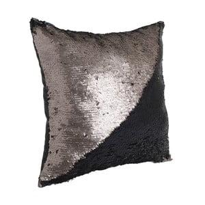 Čierny vankúš s detailom v medenej farbe InArt, 45×45cm