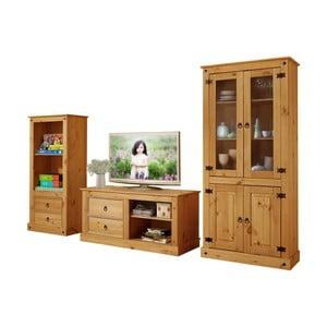 Trojdielna obývačková stena z borovicového dreva Støraa Alberto