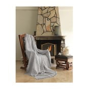 Sivá bavlnená deka mismo Linen, 170×220 cm