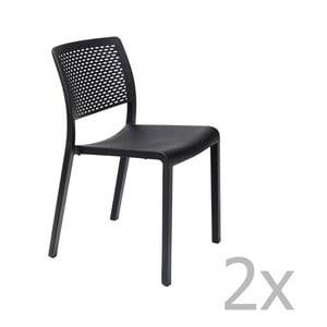 Sada 2 čiernych záhradných stoličiek Resol Trama Simple