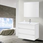 Kúpeľňová skrinka s umývadlom a zrkadlom Nayade, odtieň bielej, 90 cm