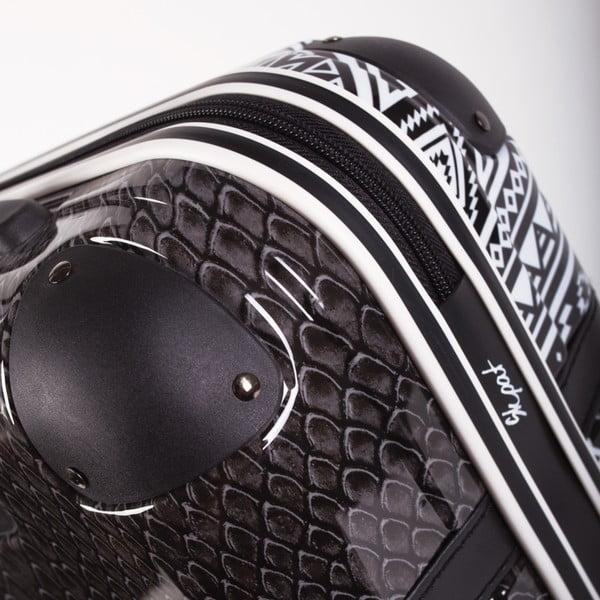 Čierno-biely vzorovaný cestovný kufor SKPA-T