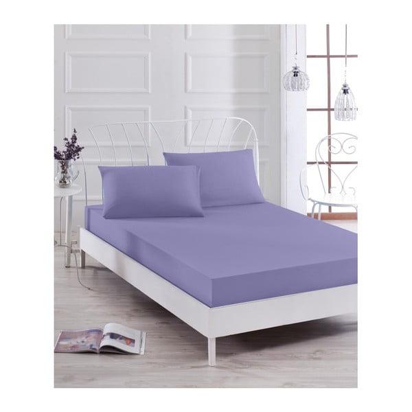 Set fialovej elastickej plachty a obliečky na vankúš na jednolôžko Basso Purple, 100 × 200 cm