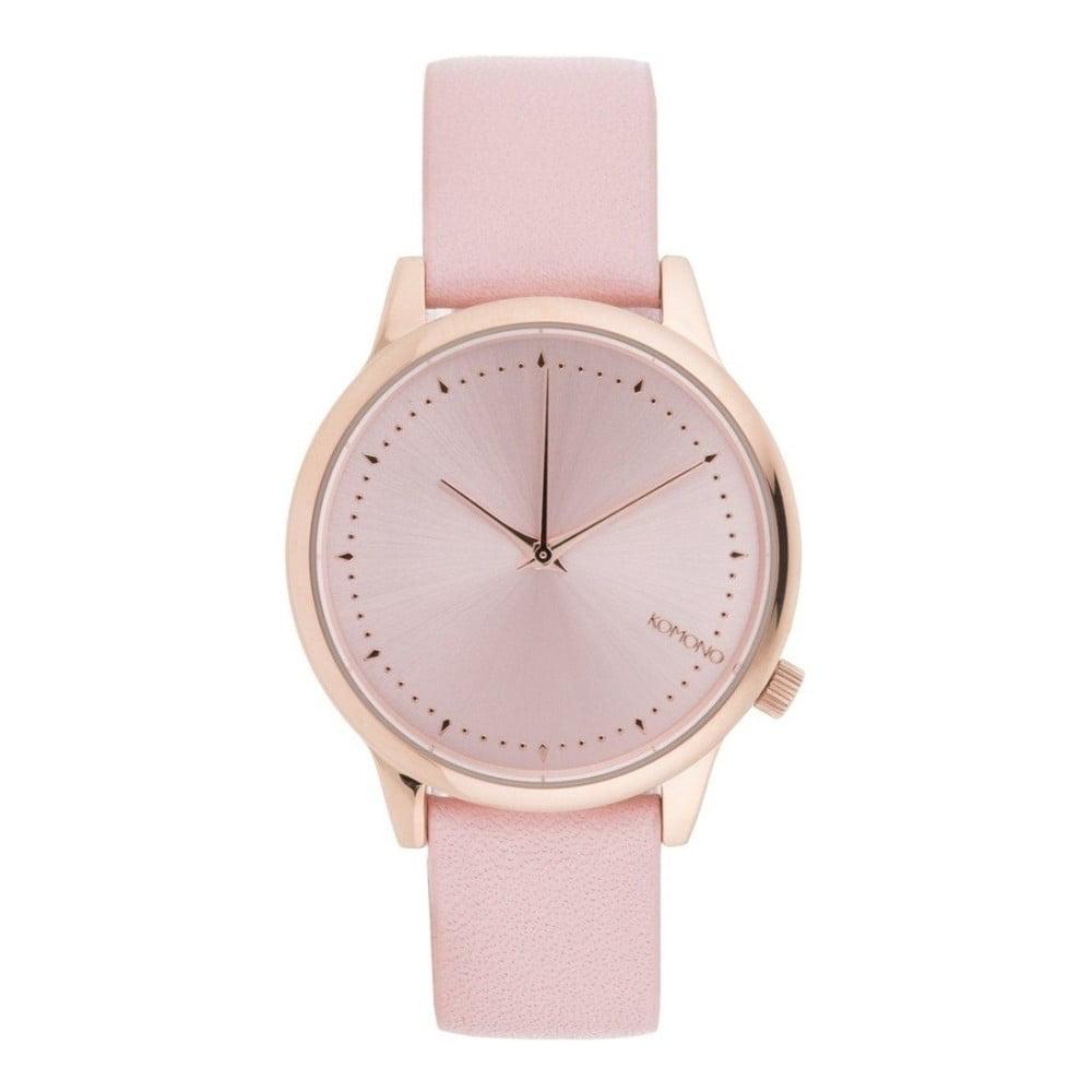 Dámske ružové hodinky s koženým remienkom Komono Pastel  40945274e03