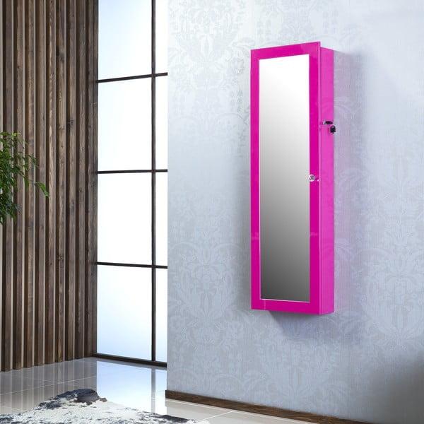 Uzamykateľné závesné zrkadlo so šperkovnicou Angelita, fialové