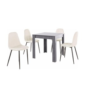 Set sivého jedálenského stola a 4 bielych jedálenských stoličiek Støraa Lori Lamar Duro