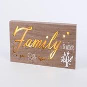 Obraz so svietiacim nápisom Family, 34x15 cm
