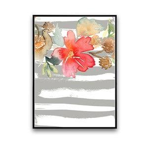 Plagát s kvetom, sivo-biele pozadie, 30 x 40 cm