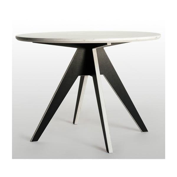 Jedálenský stôl s čiernou podnožou a bielou doskou Radis Edi, priemer 105 cm