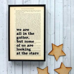 Plagát v drevenom ráme Oscar Wilde Stars