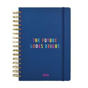 Tmavomodrý diár formátu A5 na rok 2020 Busy B Vibrant Vibes, 208 strán