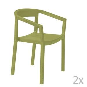 Sada 2 zelených záhradných stoličiek sopierkami Resol Peach