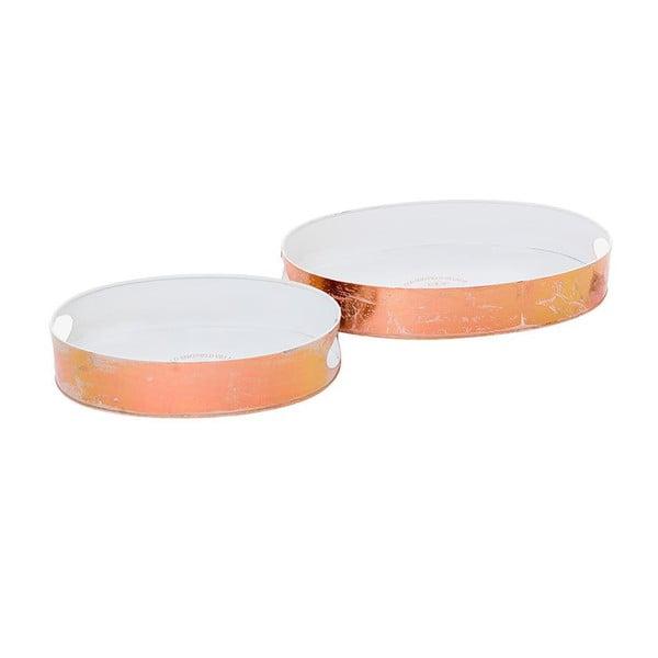 Sada 2 kovových tácok Copper