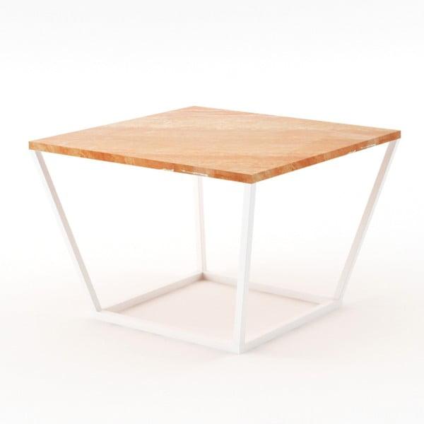 Malý béžový konferenčný stôl z mramoru s bielou podnožou Absynth Noi Spain