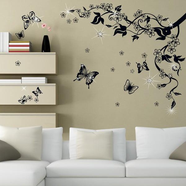 Samolepka na stenu Motýle so Swarovski kamienkami