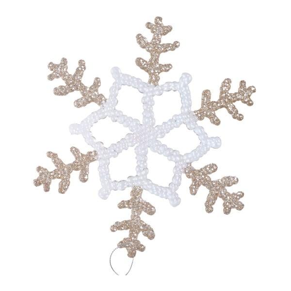 Závesná dekorácia v bielej a béžovozlatej farbe Ewax Snowflake, ⌀ 20 cm