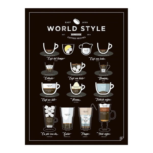 Čierny plagát Follygraph World Style Coffee, 40 x 50 cm