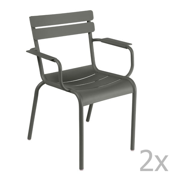 Sada 2 sivých stoličiek s opierkami na ruky Fermob Luxembourg
