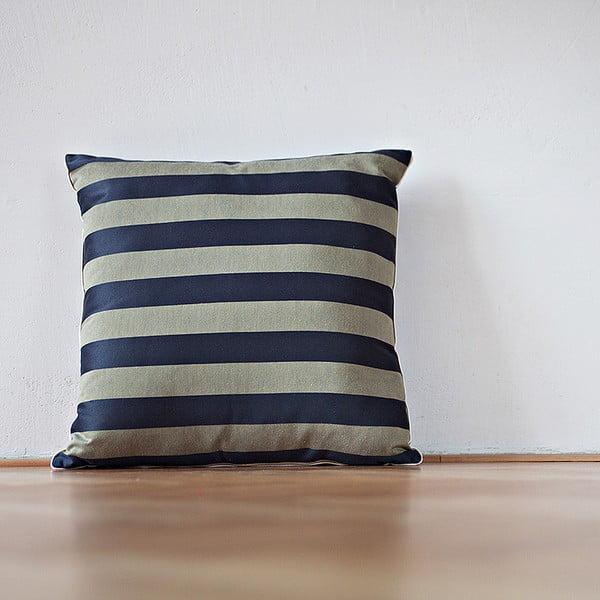 Vankúš s výplňou Dark Blue Stripes, 50x50 cm