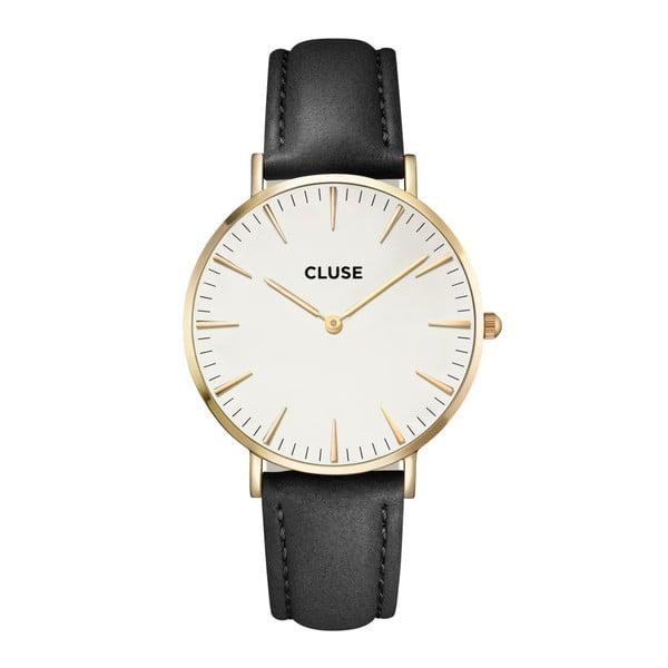 Dámske hodinky s čiernym koženým remienkom a detailmi v zlatej farbe Cluse La Bohéme