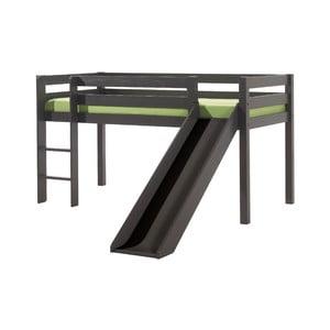Sivá detská posteľ so šmykľavkou Vipack Pino