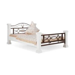 Biela posteľ z dreva z kaučukovníka SOB Constantin, 160x200cm