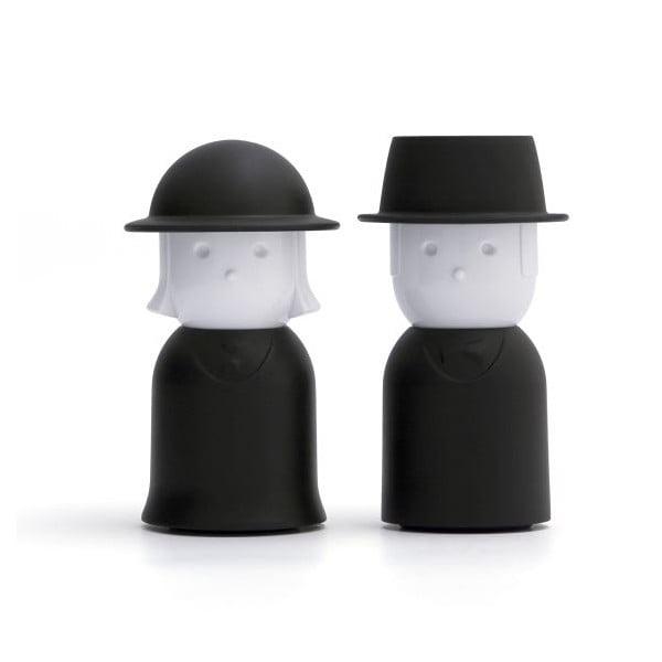 Čierna soľnička a korenička Qualy Mr.Pepper & Mrs. Salt