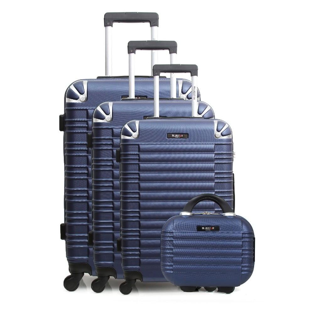 Sada 3 modrých cestovných kufrov na kolieskach a toaletného kufríka Bluestar Vanity
