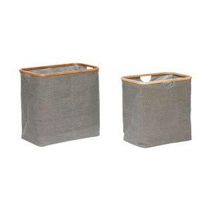 Sada 2 sivých bavlnených úložných košov  Hübsch Preben, výška 46 cm a 50 cm