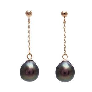 Zlaté náušnice s čiernou perlou GemSeller Lunaria