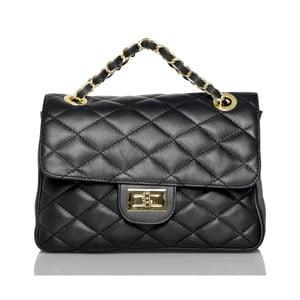 Čierna kožená listová kabelka Glorious Black Valentina