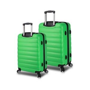 Sada 2 zelených cestovných kufrov na kolieskach s USB porty My Valice RESSNO Cabin & Medium