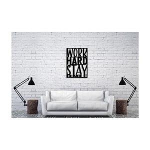 Čierna nástenná dekorácia Oyo Concept Work Hard, 35×50 cm