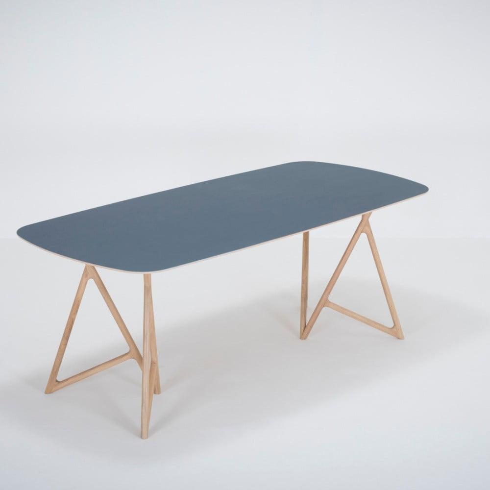 Jedálenský stôl z masívneho dubového dreva s tmavomodrou doskou Gazzda Koza, 200 × 90 cm