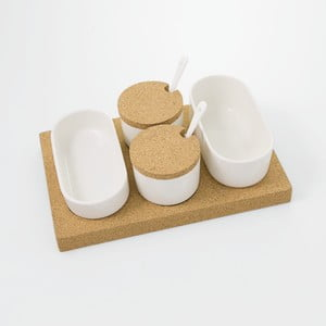 Servírovacie misky s korkovým podnosom Cork, 30 x 20 cm