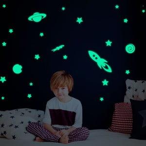 Sada nástenných detských svietiacich samolepiek Ambiance Rockets Stars and Planets