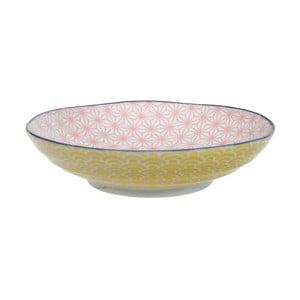 Žlto-ružový porcelánový tanier na cestoviny Tokyo Design Studio Star/Wave