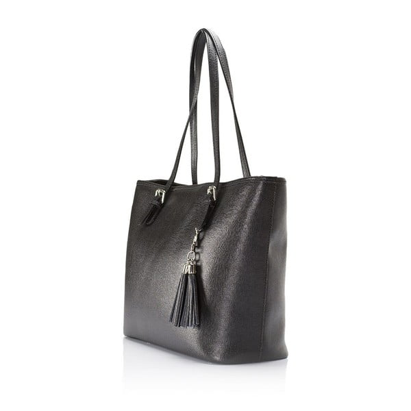 Čierna kožená kabelka Lisa Minardi Arianna