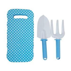 Set modrej detskej podložky s lopatkou a hrabličkami Esschert Design Pattern