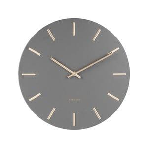 Sivé nástenné hodiny s ručičkami v zlatej farbe Karlsson Charm, ø 30 cm