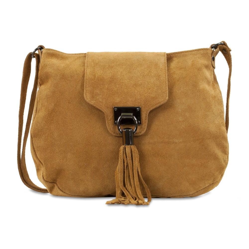 Karamelovohnedá kabelka z nubukovej kože Infinitif Pexine e26630a8ed5