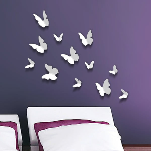 Trojrozmerné samolepky motýlikov, jednofarebné biele