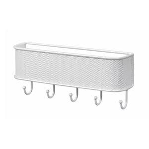 Biely nástenný držiak InterDesign Mail and Key Rack, dĺžka 26,5 cm