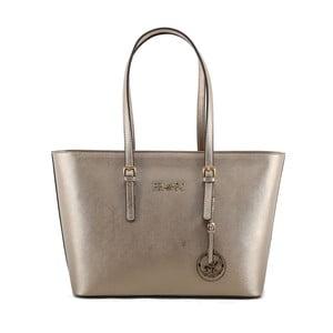 Krémovobiela kabelka z eko kože so zlatými odleskami Beverly Hills Polo Club Anne